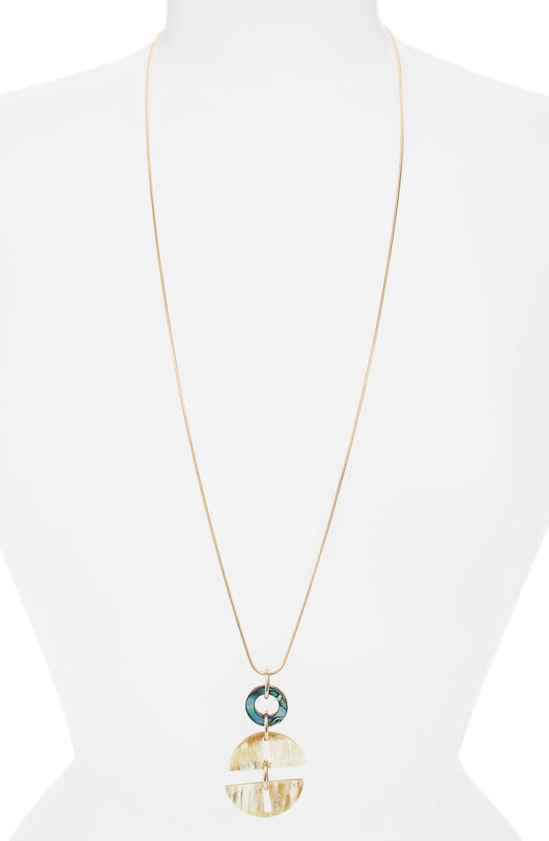 AKOLA Long Abalone & Horn Pendant Necklace, Main, color, BLONDE
