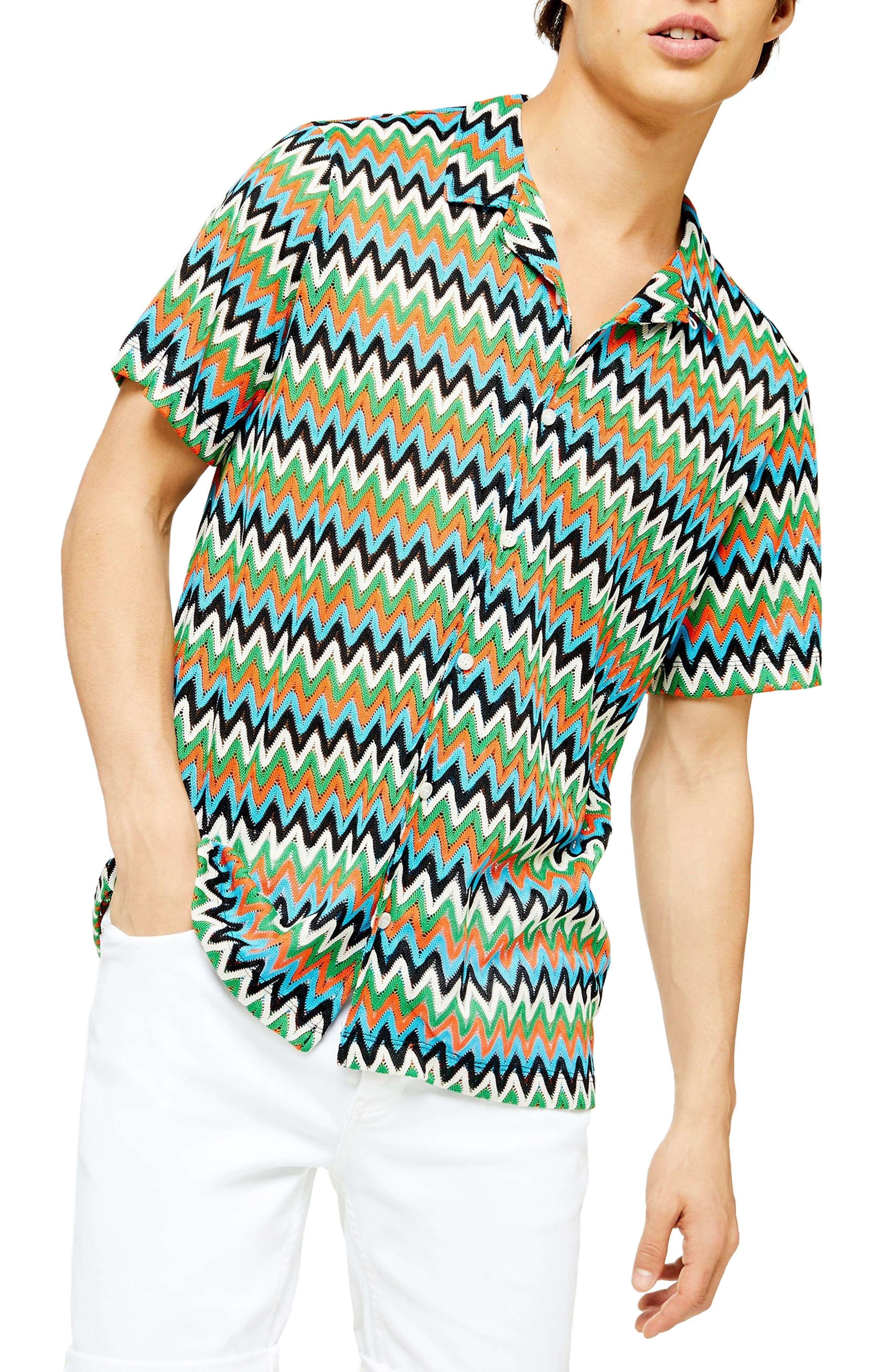 1960s -1970s Men's Clothing Mens Topman Chevron Short Sleeve Button-Up Knit Camp Shirt $70.00 AT vintagedancer.com