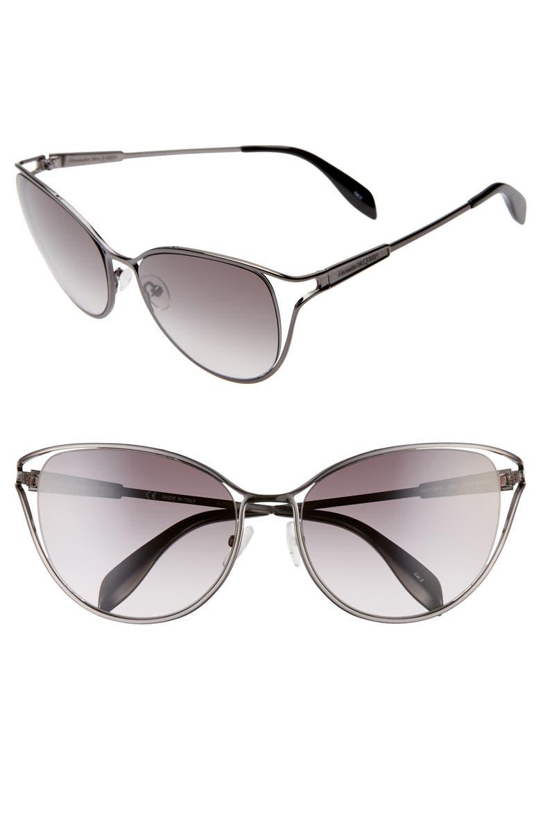 ALEXANDER MCQUEEN 58mm Gradient Cat Eye Sunglasses, Main, color, RUTHENIUM/ GREY