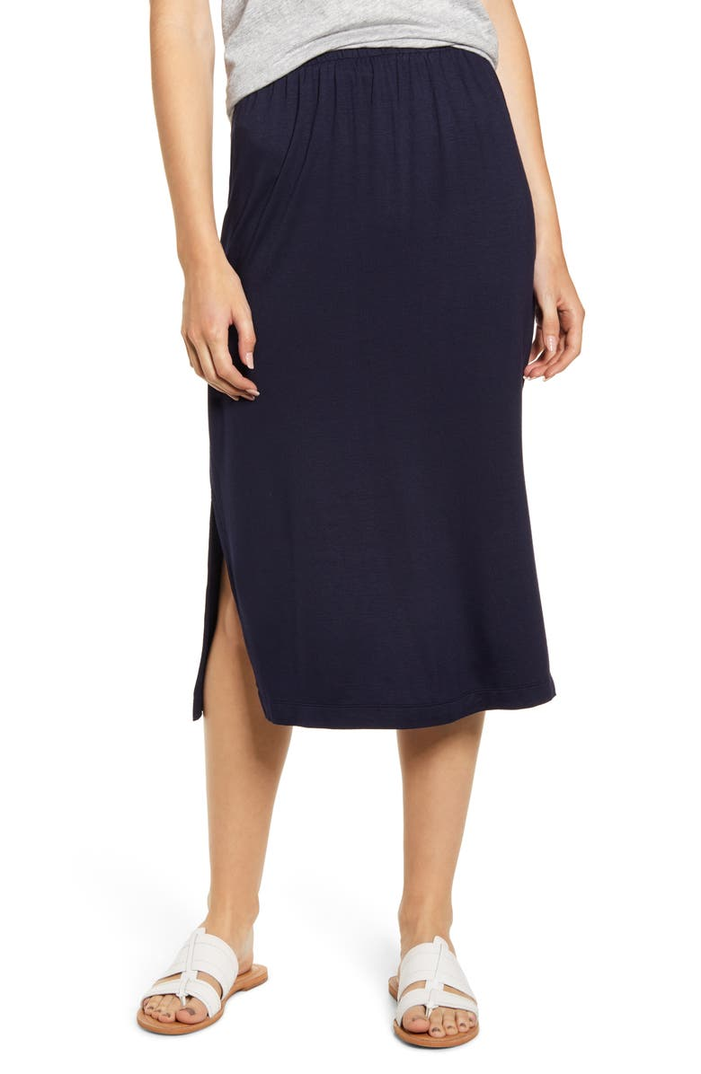 LOU & GREY Signaturesoft Midi Skirt, Main, color, FOREVER NAVY