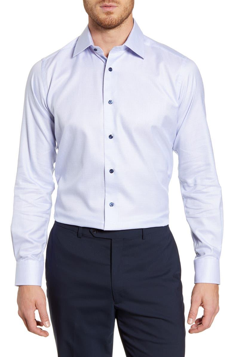 DAVID DONAHUE Slim Fit Check Dress Shirt, Main, color, BLUE