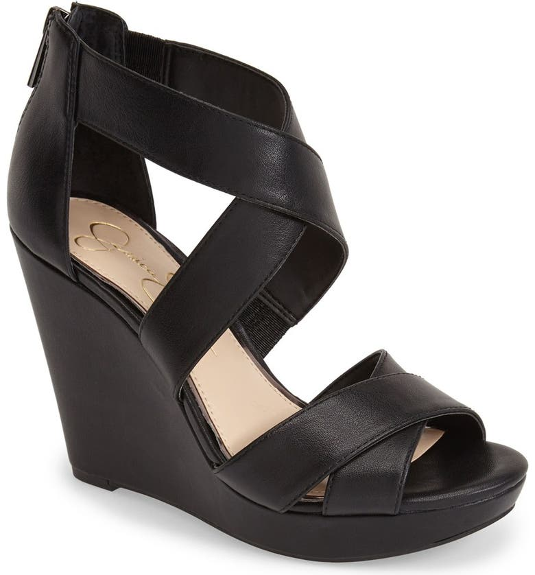 JESSICA SIMPSON 'Jadyn' Strappy Wedge Sandal, Main, color, 001