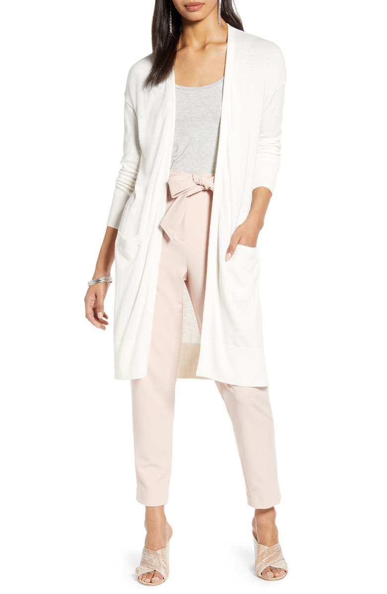 HALOGEN<SUP>®</SUP> Open Front Pocket Cardigan, Main, color, IVORY CLOUD