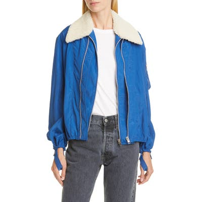 Helmut Lang Sheer Bomber Jacket With Removable Genuine Shearling Collar, Blue