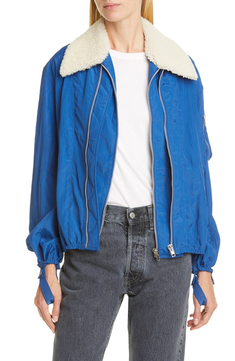 HELMUT LANG Sheer Bomber Jacket with Removable Genuine Shearling Collar, Main, color, COBALT