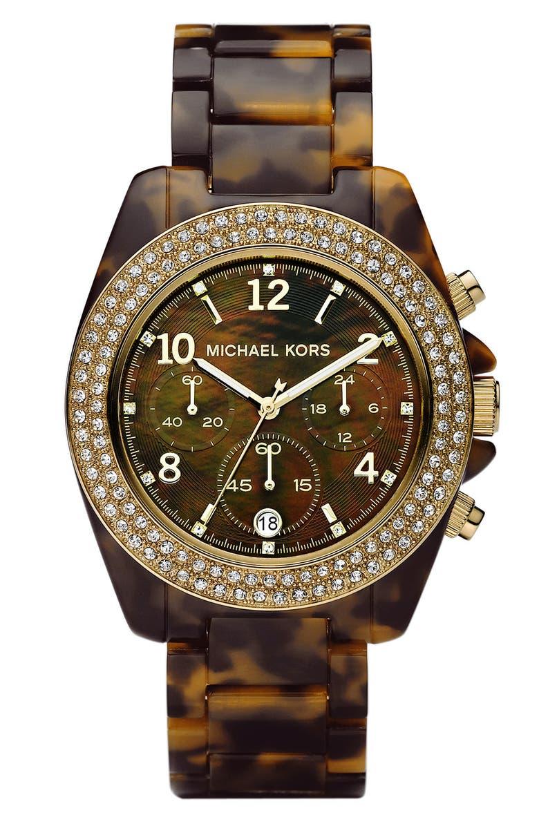 MICHAEL MICHAEL KORS Michael Kors 'Blair' Resin & Crystal Bezel Watch, Main, color, 200