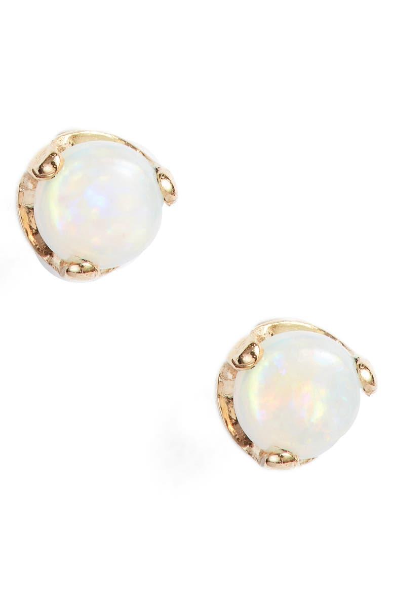 ZOË CHICCO Opal Stud Earrings, Main, color, YELLOW GOLD/ OPAL