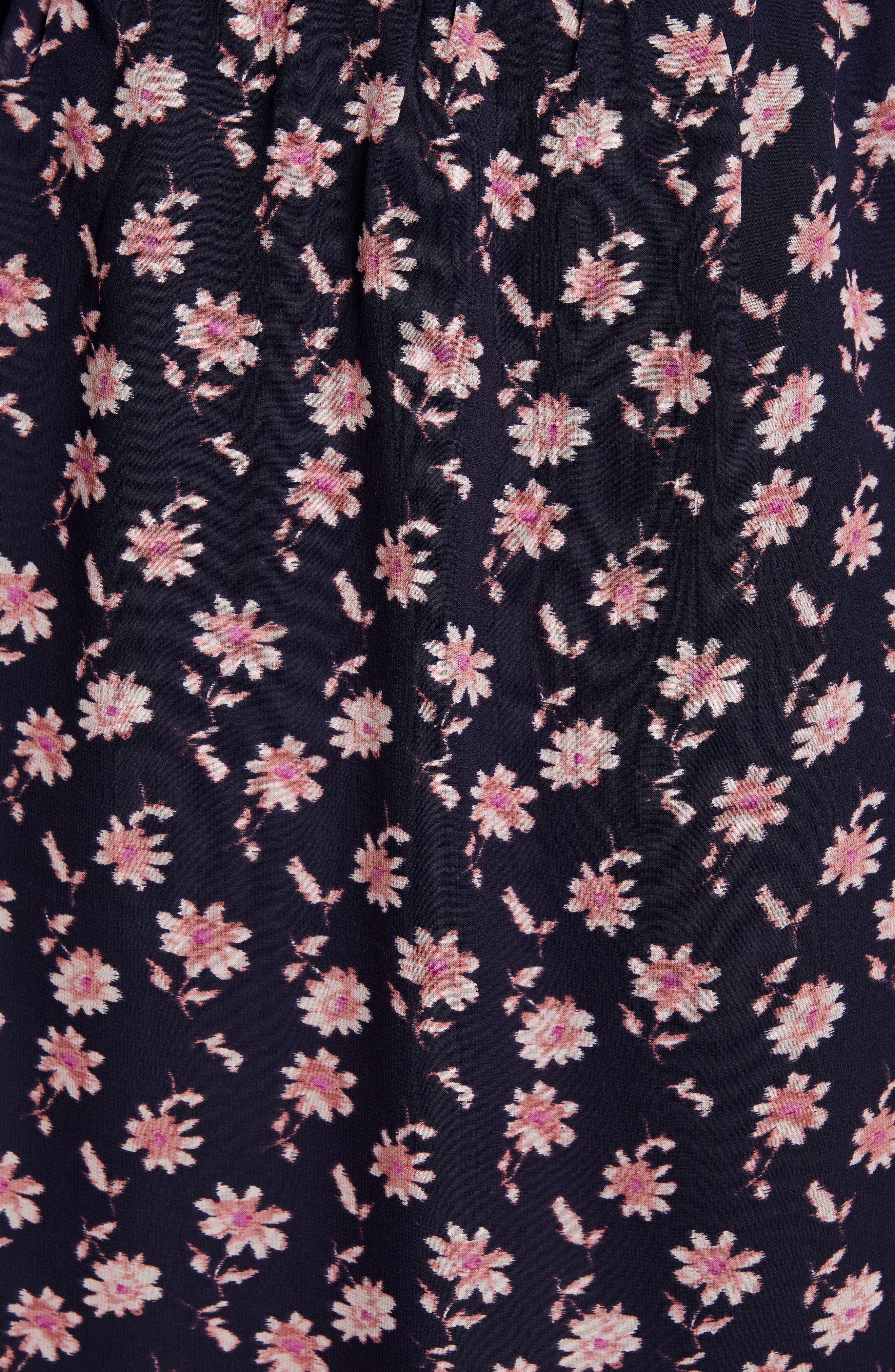 ,                             Marelle Ruffle Neck Long Sleeve Silk Dress,                             Alternate thumbnail 6, color,                             MIDNIGHT