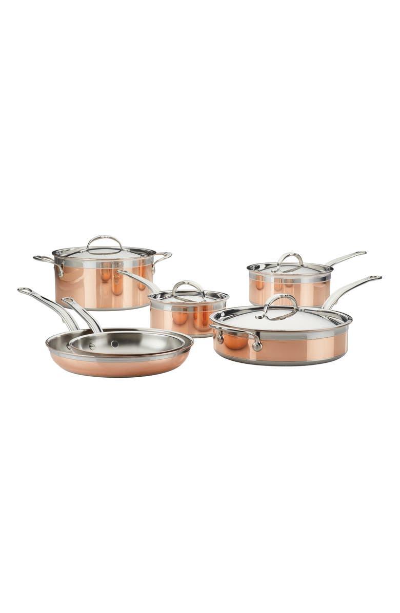 HESTAN CopperBond 10-Piece Cookware Set, Main, color, COPPER