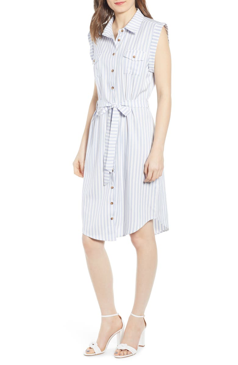 BISHOP + YOUNG Stripe Shirtdress, Main, color, TWILIGHT BLUE