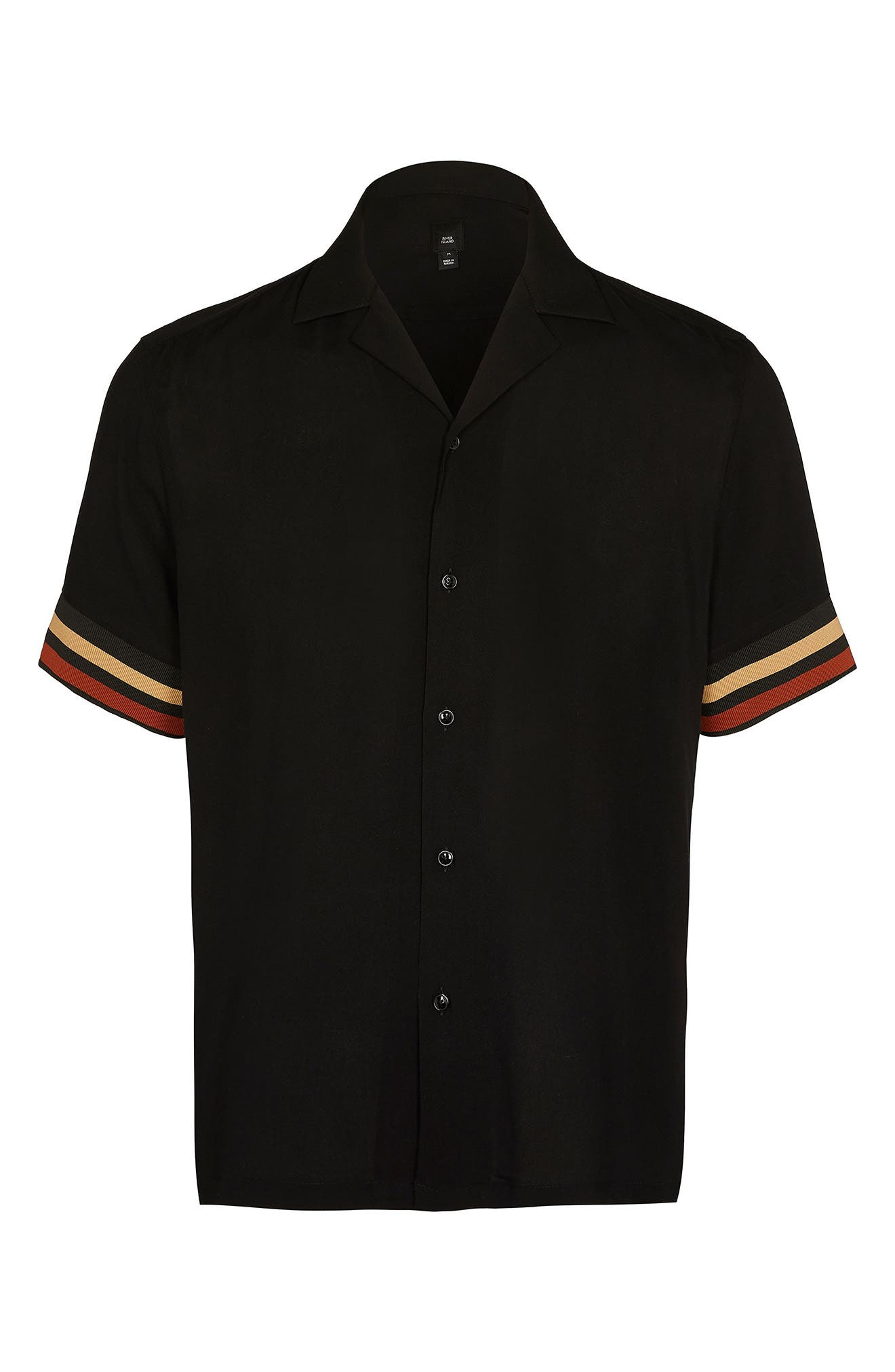 1960s Men's Clothing Mens River Island Tipped Stripe Revere Button-Up Shirt Size Small - Black $50.00 AT vintagedancer.com