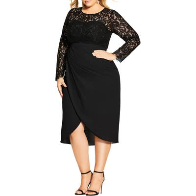 Plus Size City Chic Elegant Long Sleeve Lace Sheath Dress, Black