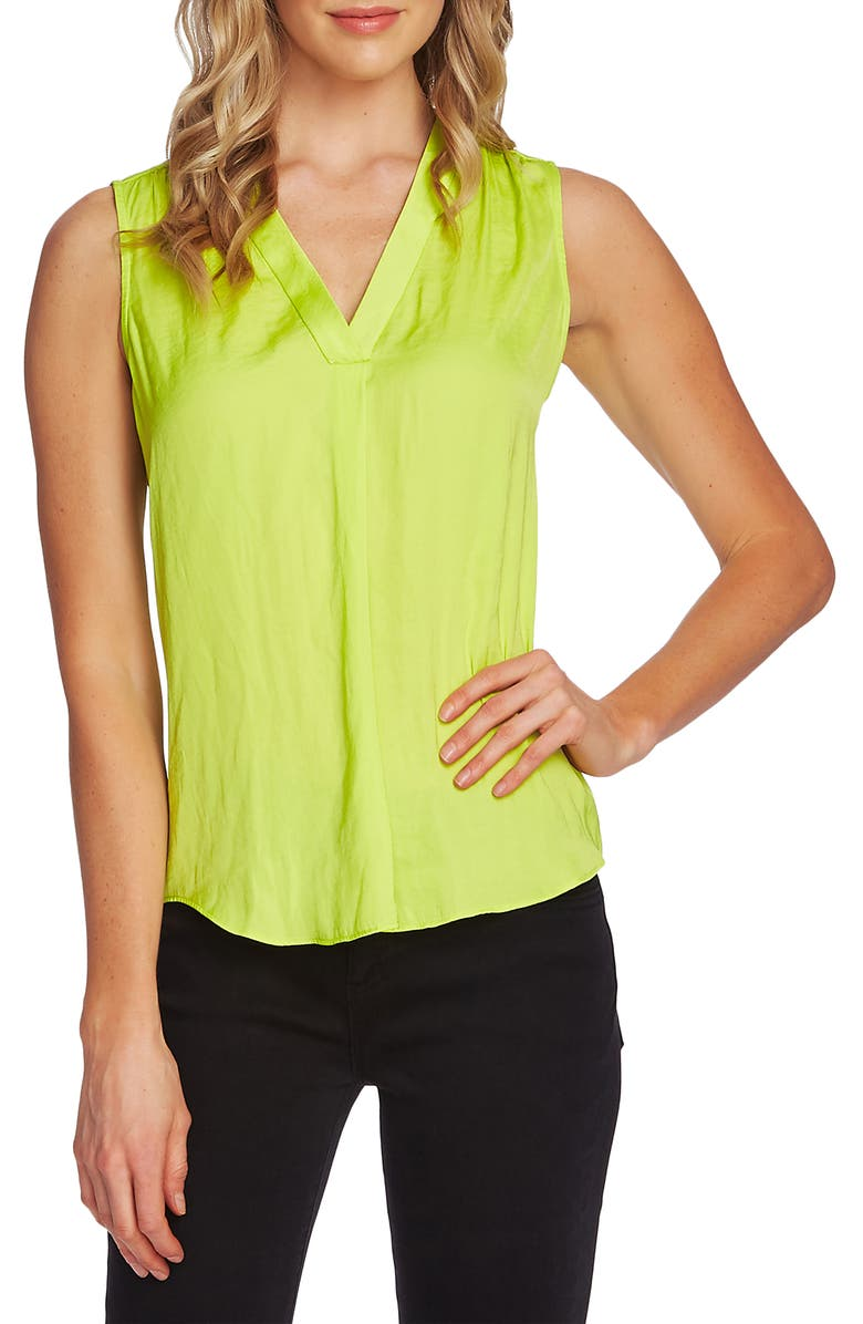 VINCE CAMUTO Rumpled Satin Blouse, Main, color, LIME CHROME