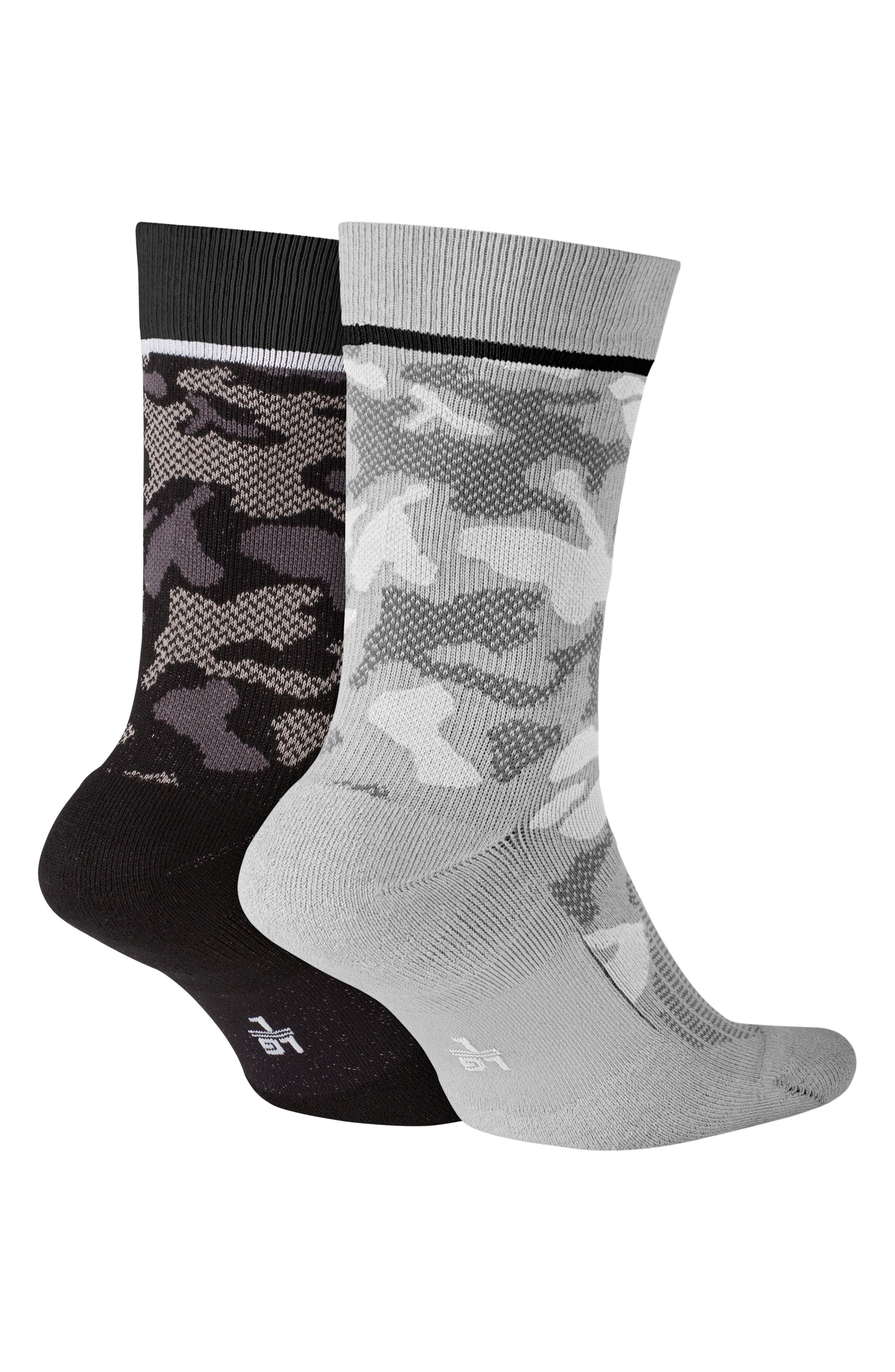 ,                             2-Pack Camo Crew Socks,                             Alternate thumbnail 2, color,                             BLACK/ WHITE/ GREY