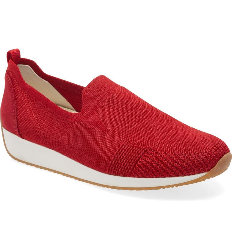 ARA Leena Sneaker, Main, color, RED FABRIC