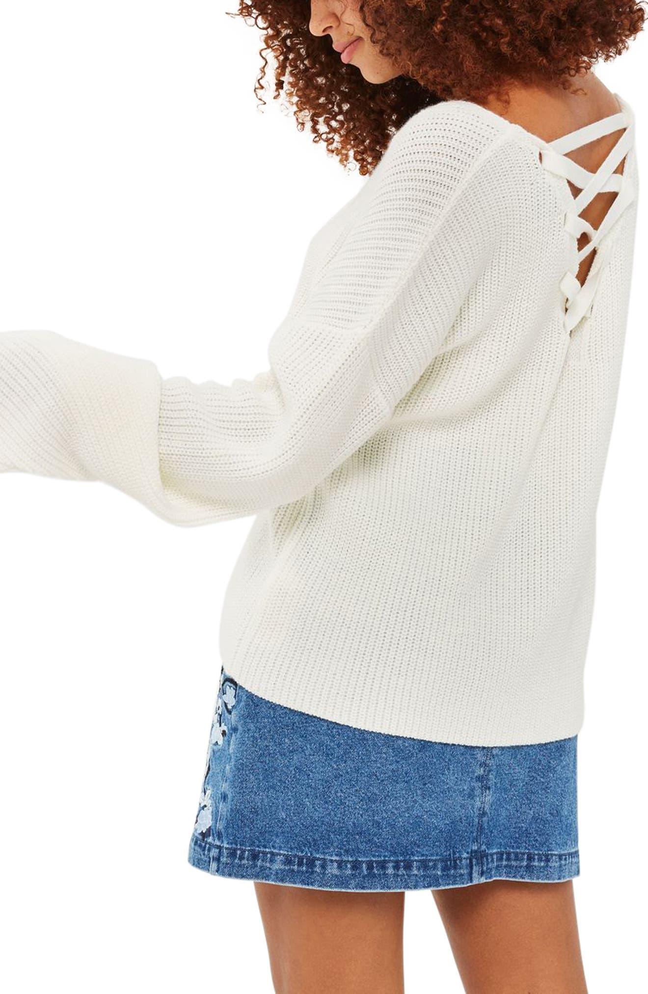 ,                             Lattice Back Sweater,                             Alternate thumbnail 5, color,                             900