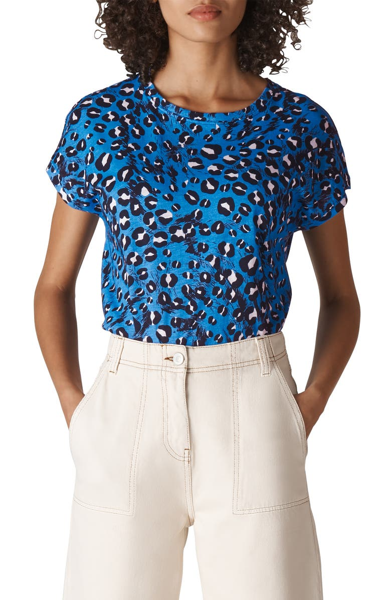 WHISTLES Brushed Leopard Print Tee, Main, color, 400