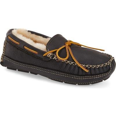 Minnetonka Genuine Shearling Leather Slipper, Black