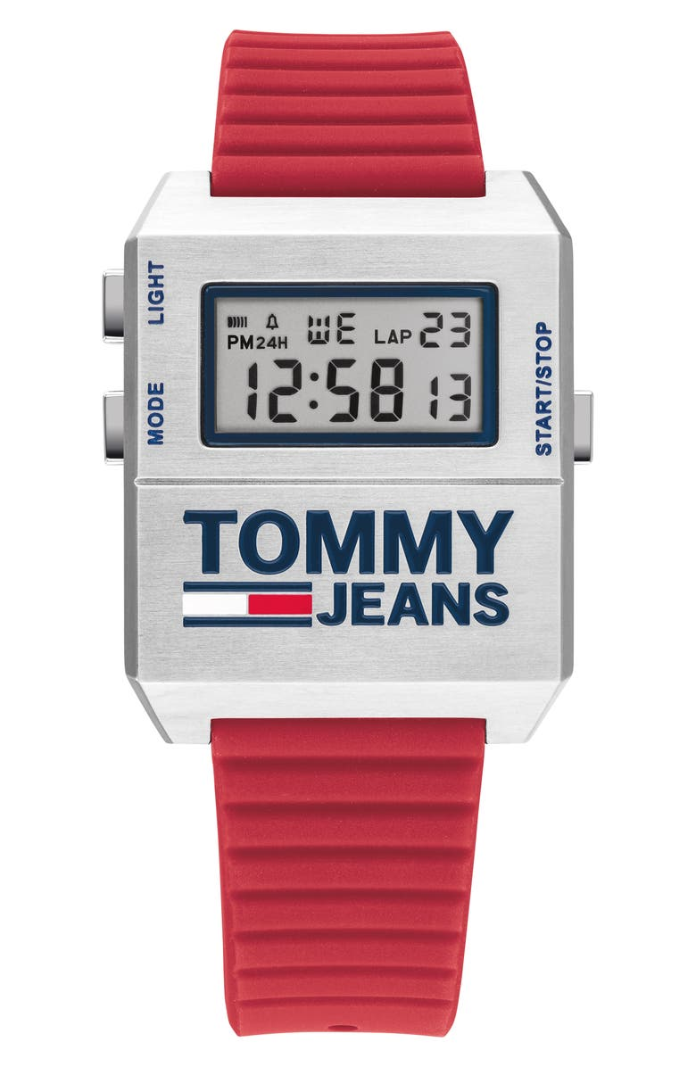 TOMMY JEANS Digital Rubber Strap Watch, 32.5mm x 42mm, Main, color, NO_COLOR