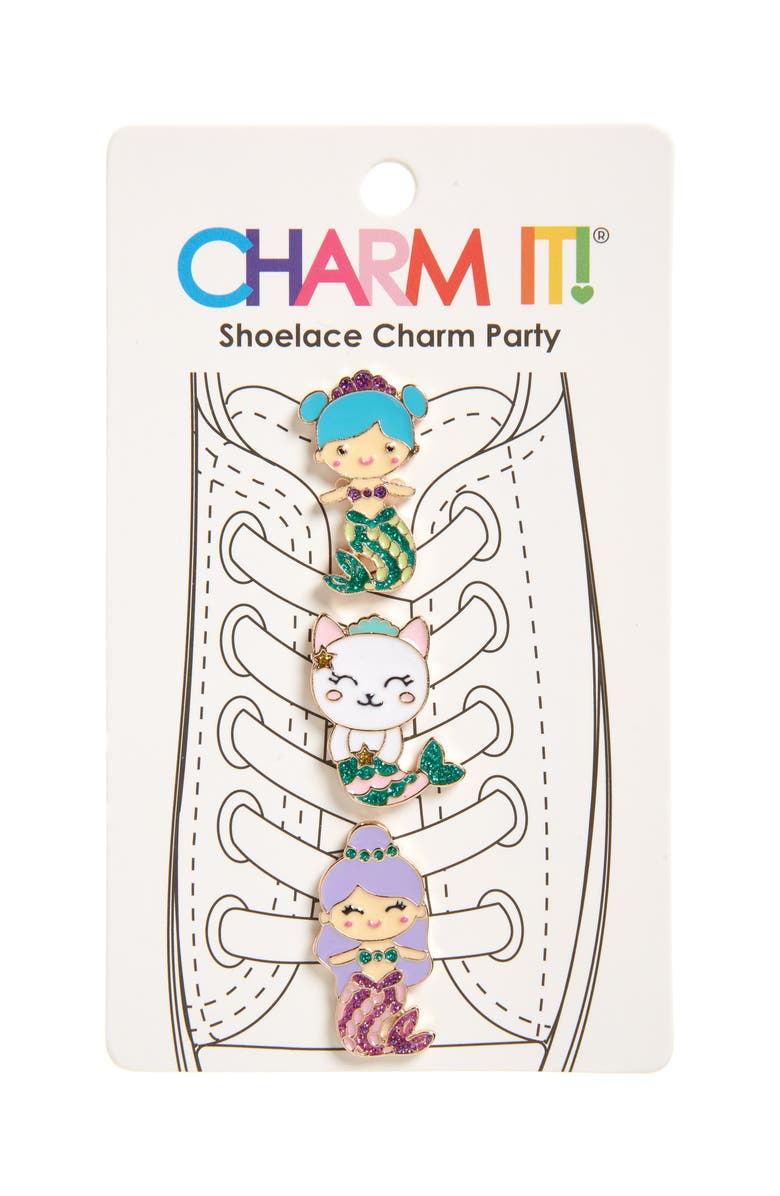 CHARM IT!<SUP>®</SUP> 3-Pack Glitter Mermaid Shoelace Charms, Main, color, 040