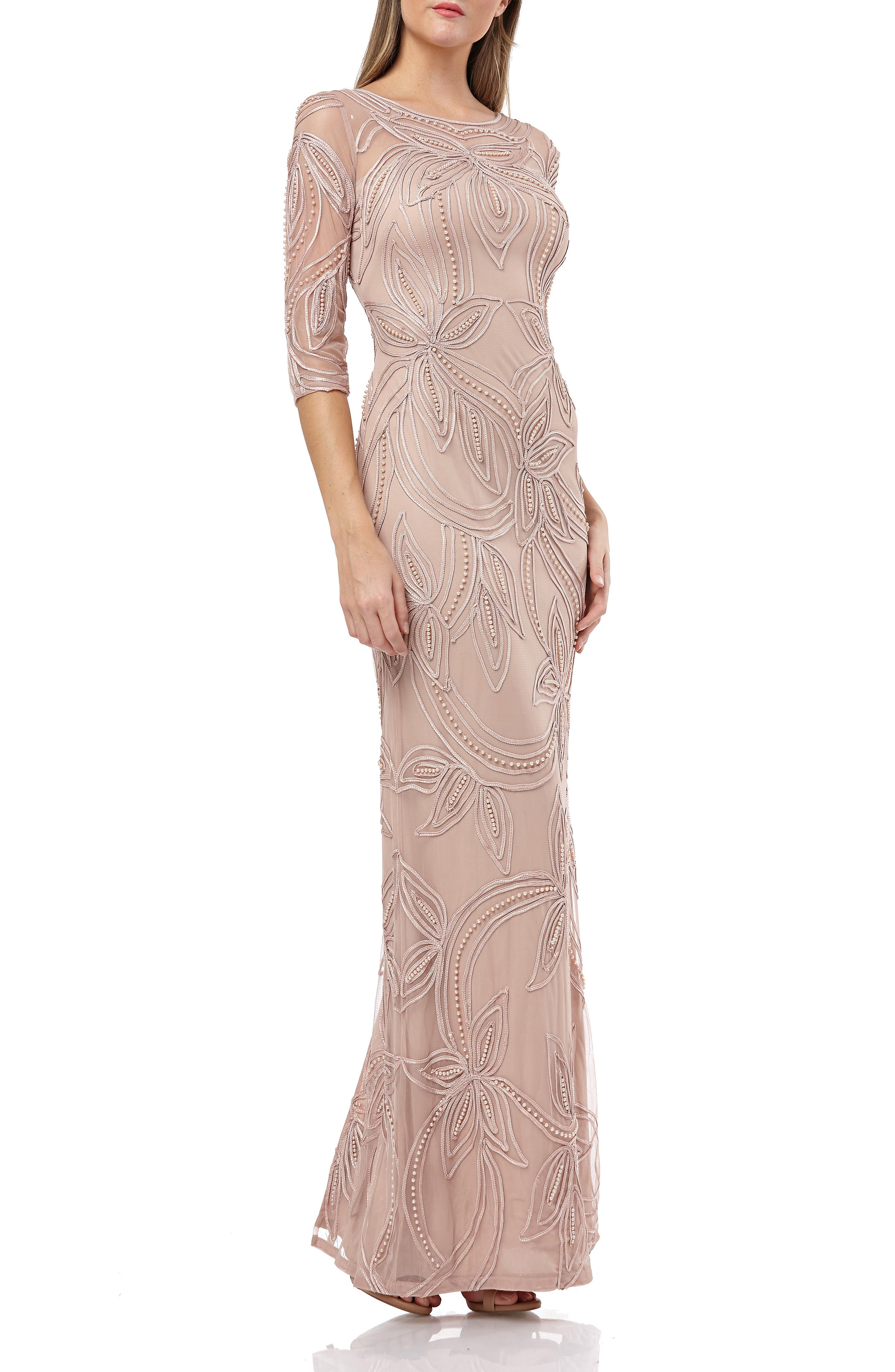 Js Collections Pearl Beaded Soutache Column Gown, Pink
