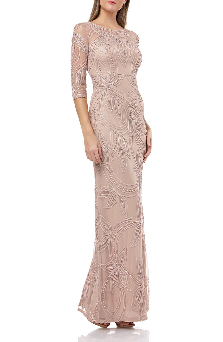 JS COLLECTIONS Pearl Beaded Soutache Column Gown, Main, color, PINK TAUPE