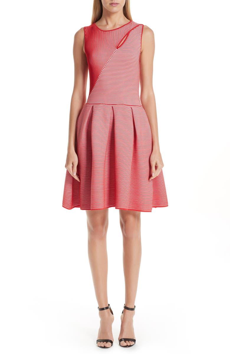 EMPORIO ARMANI Stripe Knit Jersey Dress, Main, color, 650