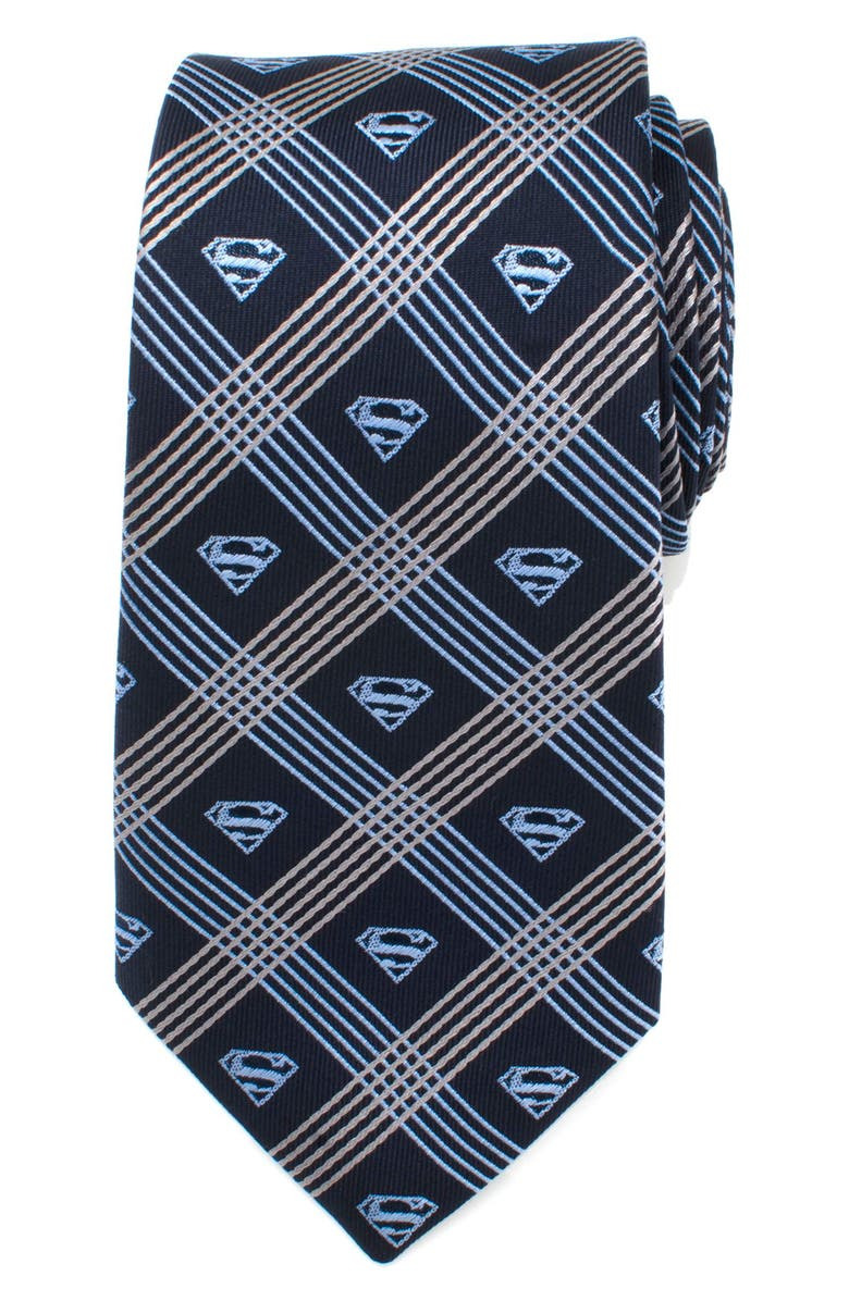 CUFFLINKS, INC. Superman Shield Silk Tie, Main, color, GREY/ NAVY