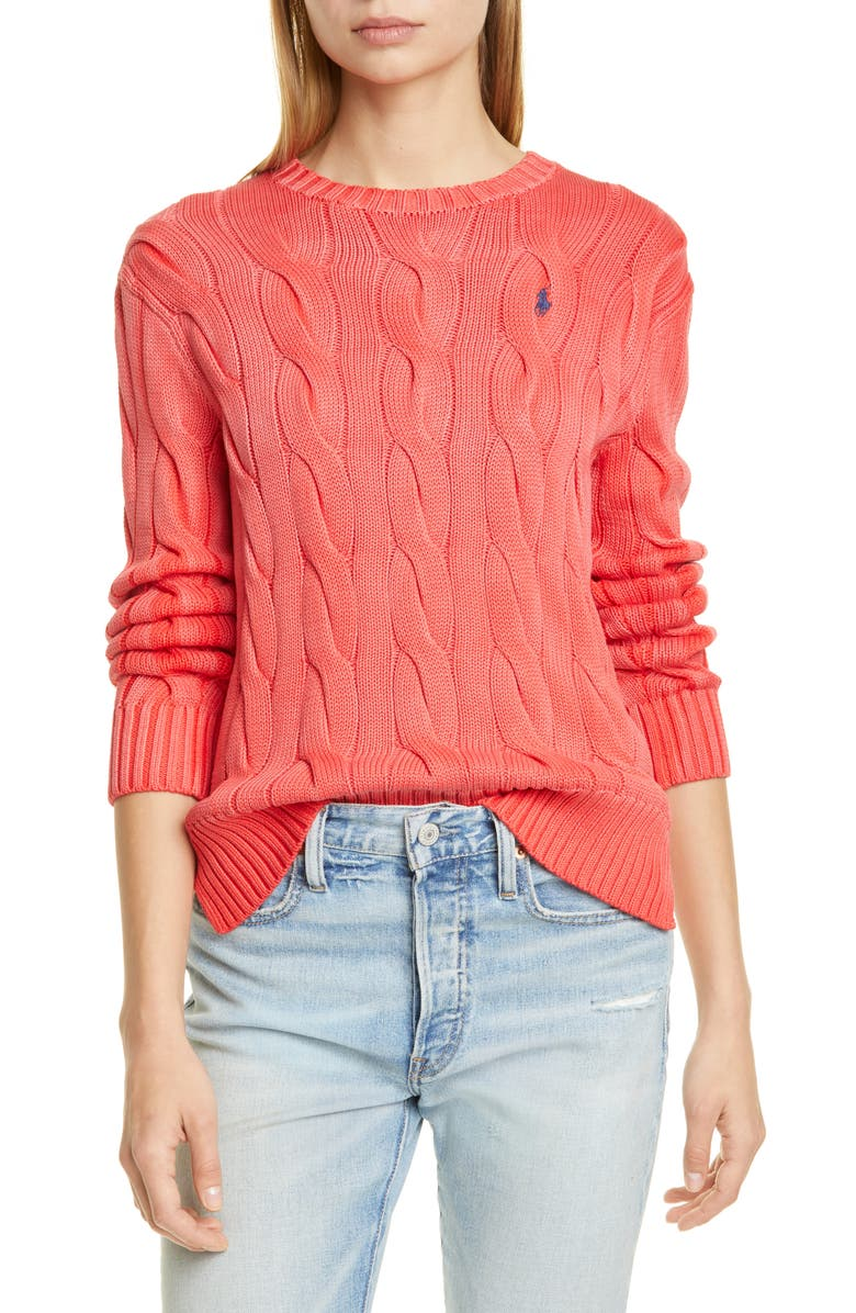 POLO RALPH LAUREN Cable Sweater, Main, color, RED