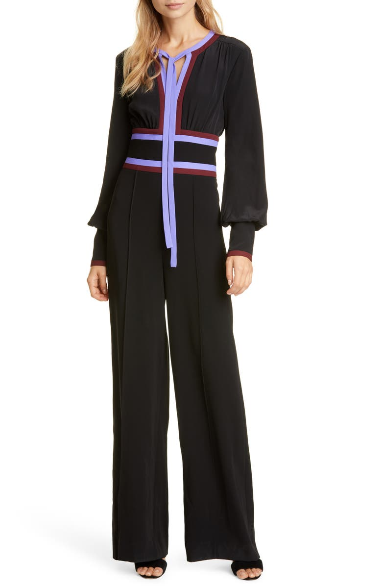 DVF Elkie Tie Neck Long Sleeve Jumpsuit, Main, color, BLACK/ JACARANDA/ MERLOT