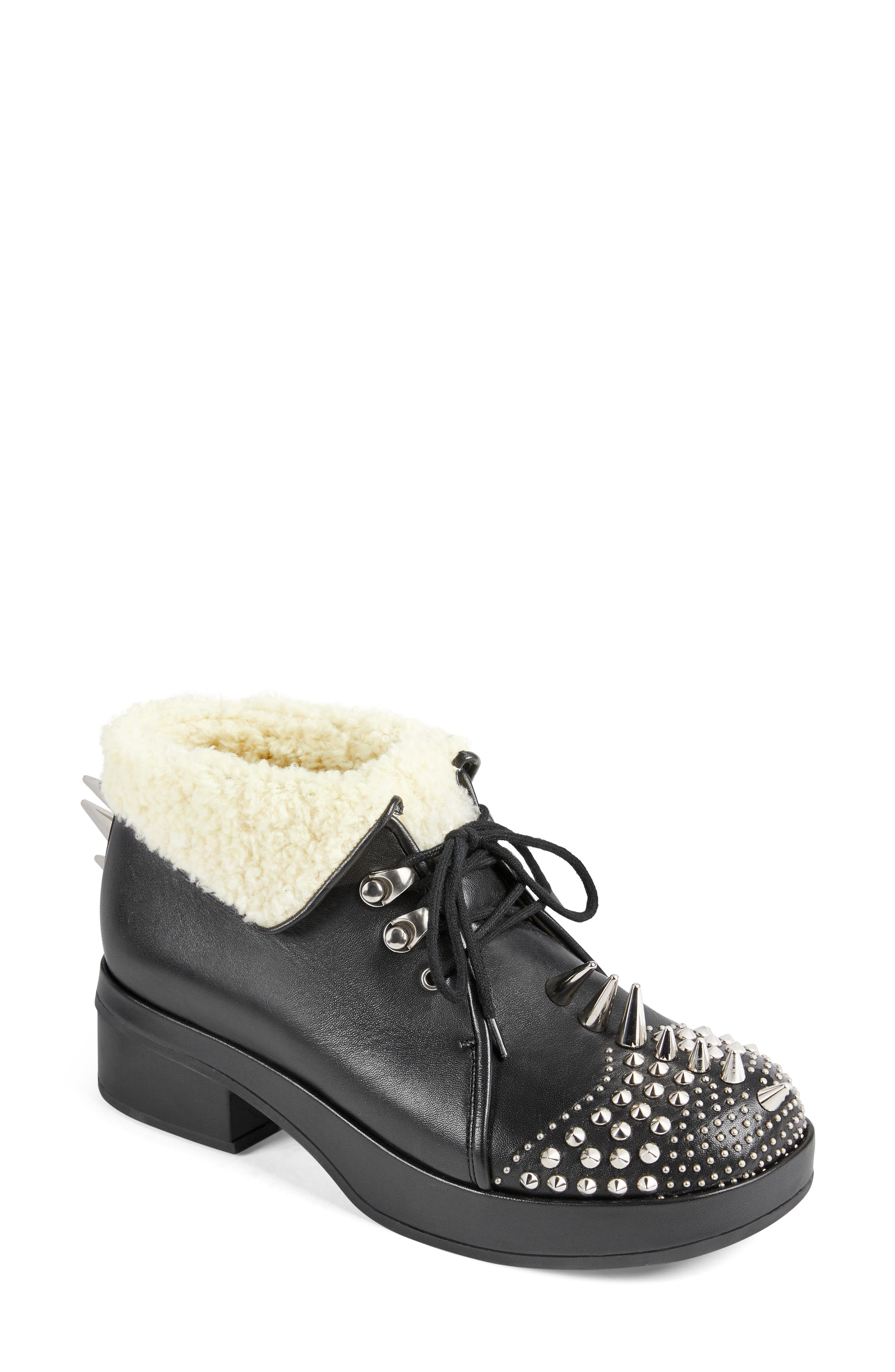 Gucci Boots Victor Studded Faux Shearling Lined Bootie