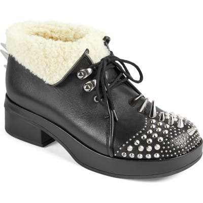 Gucci Victor Studded Faux Shearling Lined Bootie, Black