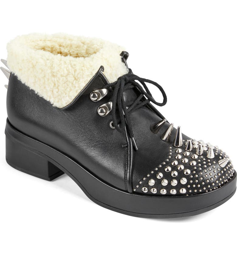 GUCCI Victor Studded Faux Sheng Lined Bootie, Main, color, BLACK/ WHITE