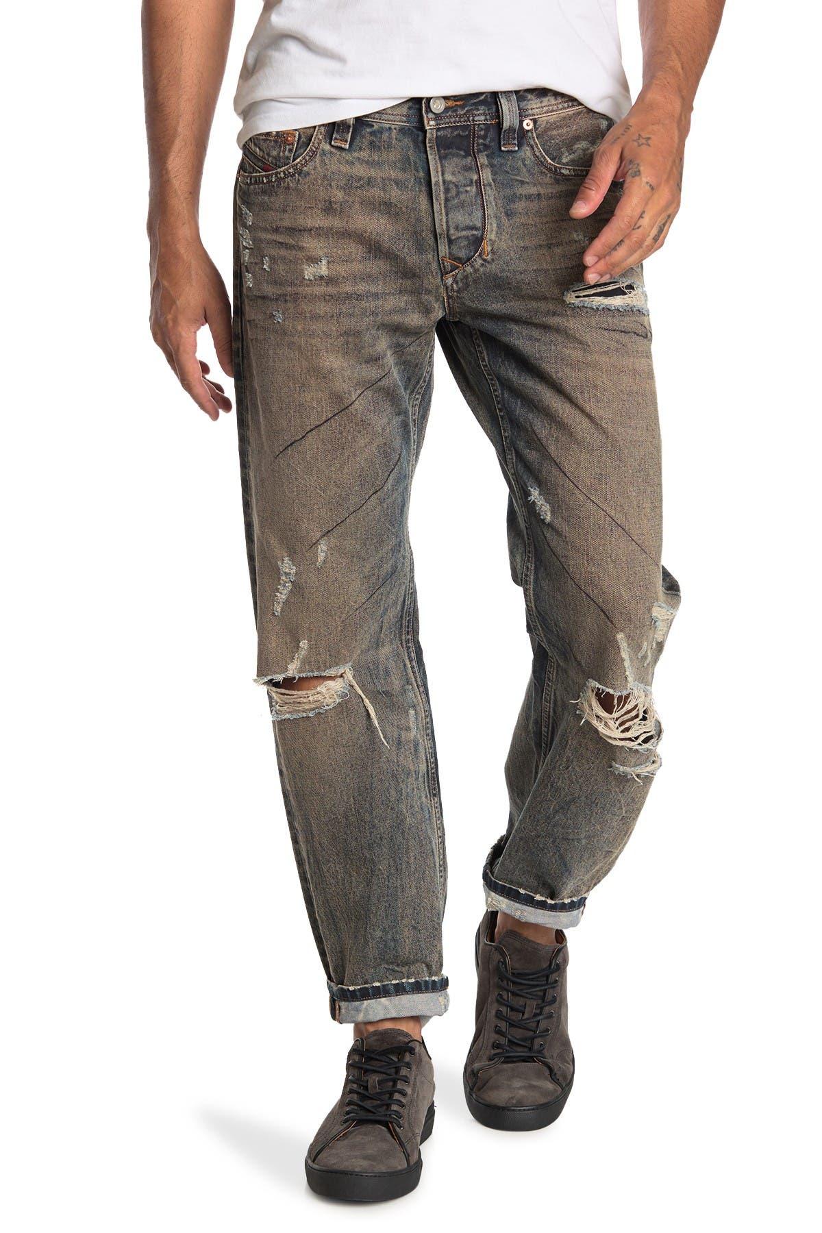 Image of Diesel Larkee Slim Straight Distressed Jeans