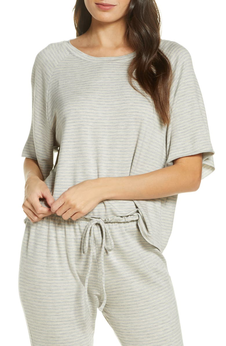 EBERJEY The Varsity Sadie Stripes Tee, Main, color, HEATHER GREY/OATMEAL