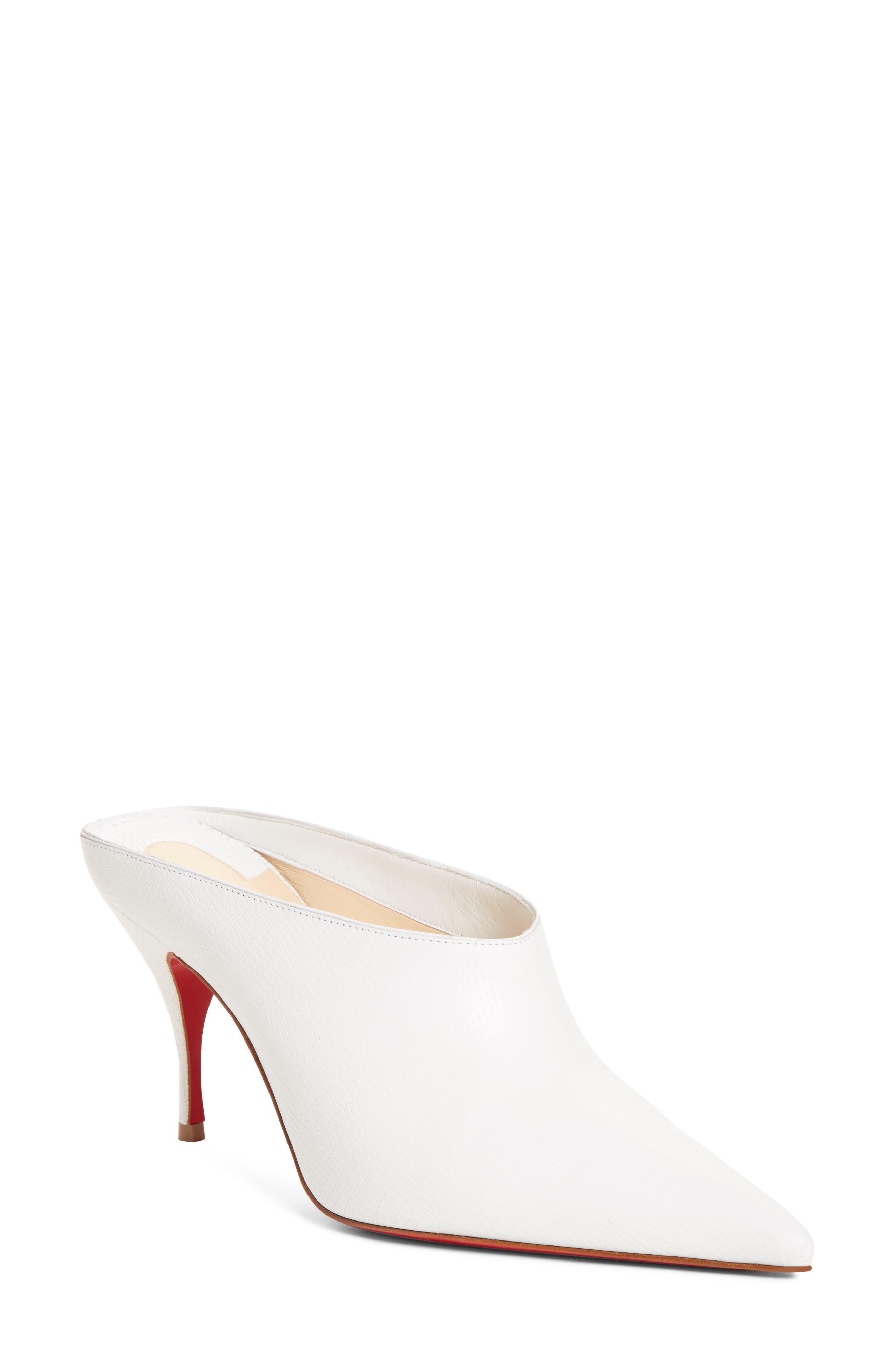 Christian Louboutin Quart Pointy Toe Mule - White