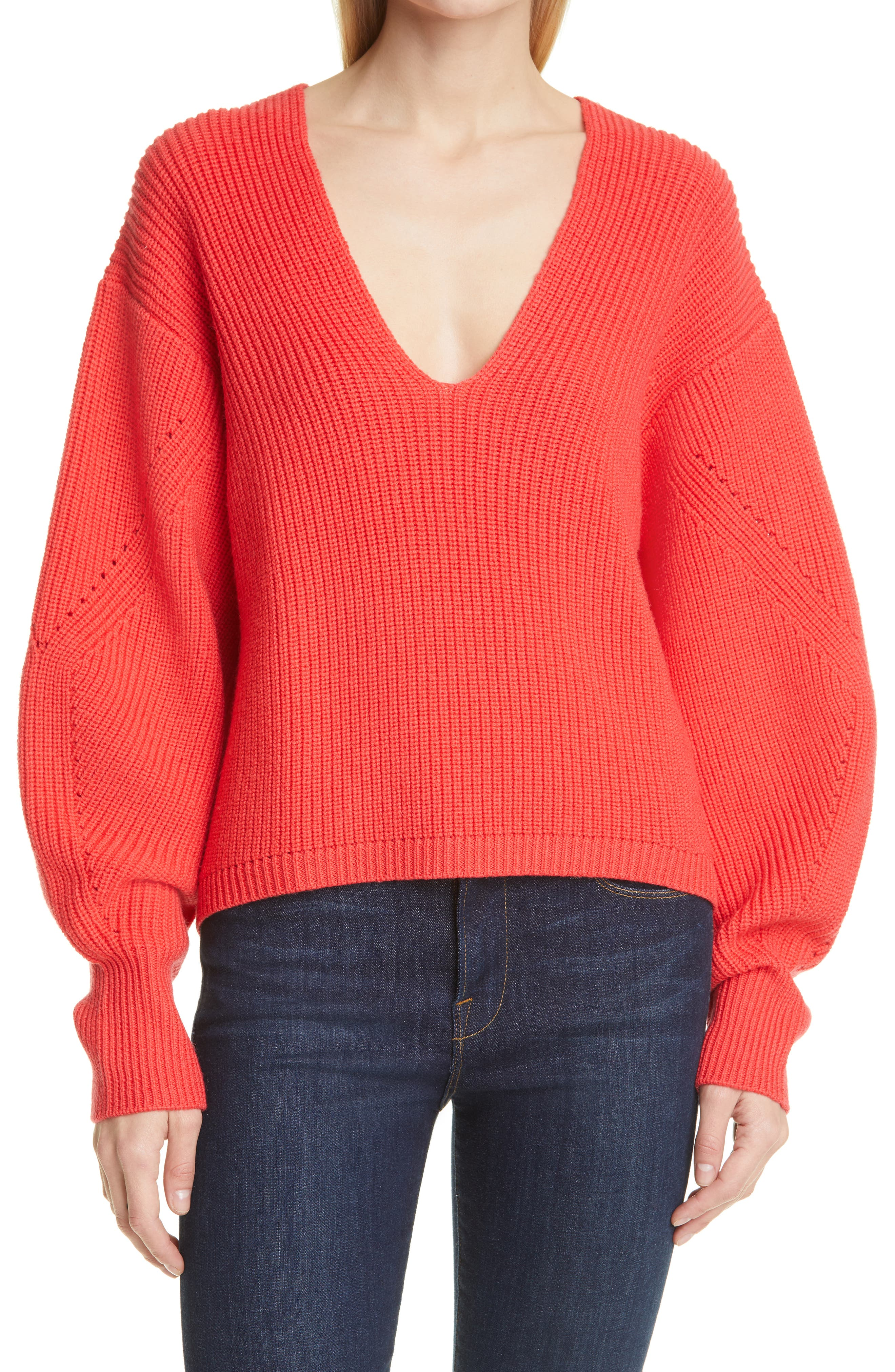 Rib Balloon Sleeve V-Neck Sweater