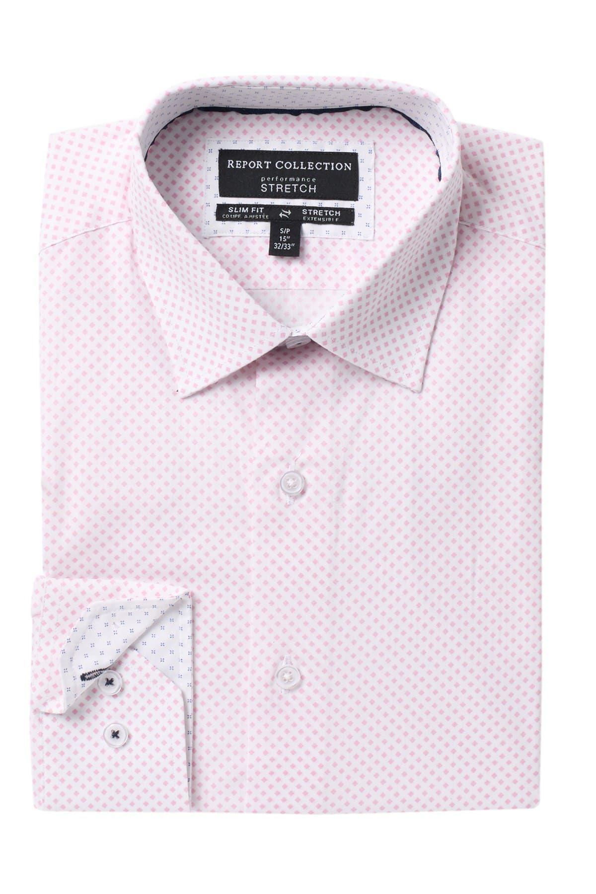 Image of Report Collection Slim Fit Diamond Print Dress Shirt