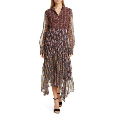 Altuzarra Asymmetrical Paisley Print Long Sleeve Midi Dress, Black