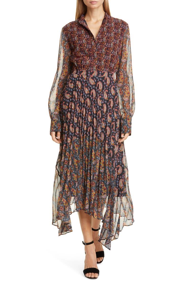 ALTUZARRA Asymmetrical Paisley Print Long Sleeve Midi Dress, Main, color, MULTI BLACK