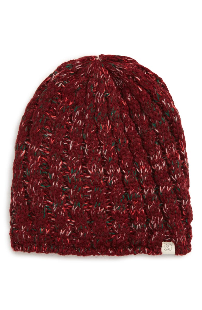 TREASURE & BOND Marled Knit Beanie, Main, color, RED COMBO