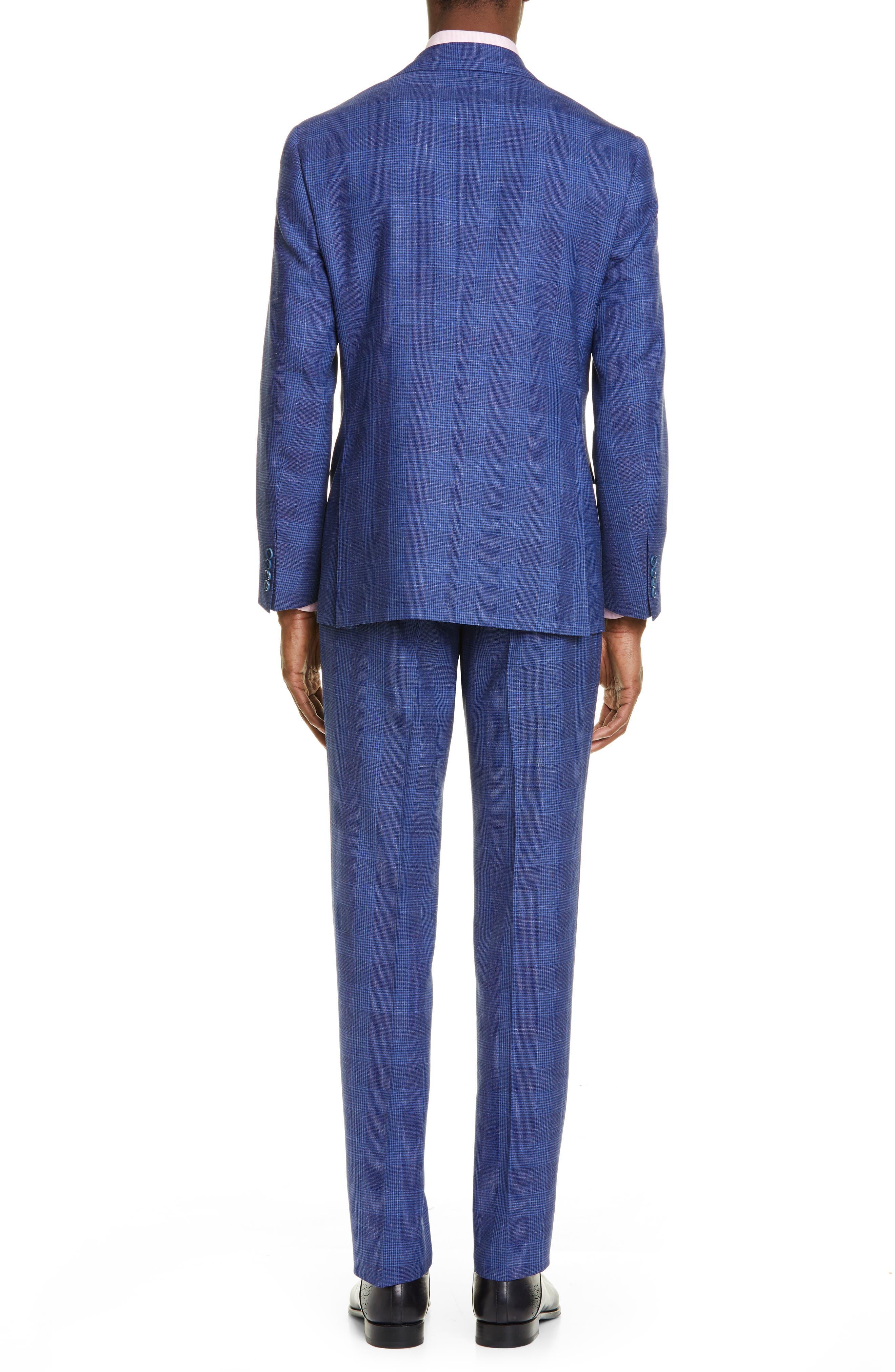 ,                             Kei Trim Fit Plaid Wool Blend Suit,                             Alternate thumbnail 2, color,                             BRIGHT BLUE