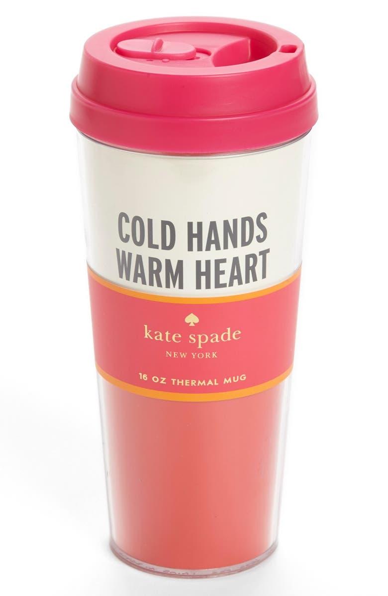 KATE SPADE NEW YORK 'cold hands' thermal travel mug, Main, color, 600
