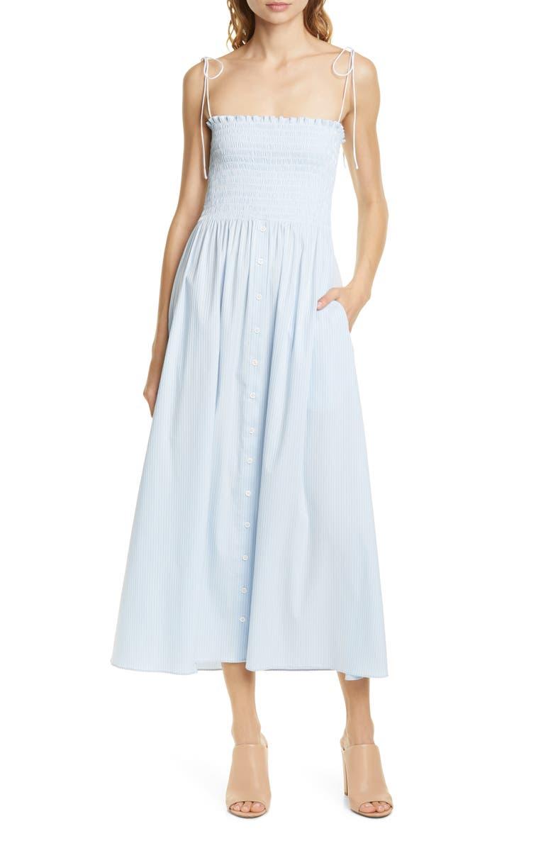 LA LIGNE Lou Stripe Chambray Smocked Bodice Strapless Midi Dress, Main, color, SKY BLUE/ WHITE STRIPES