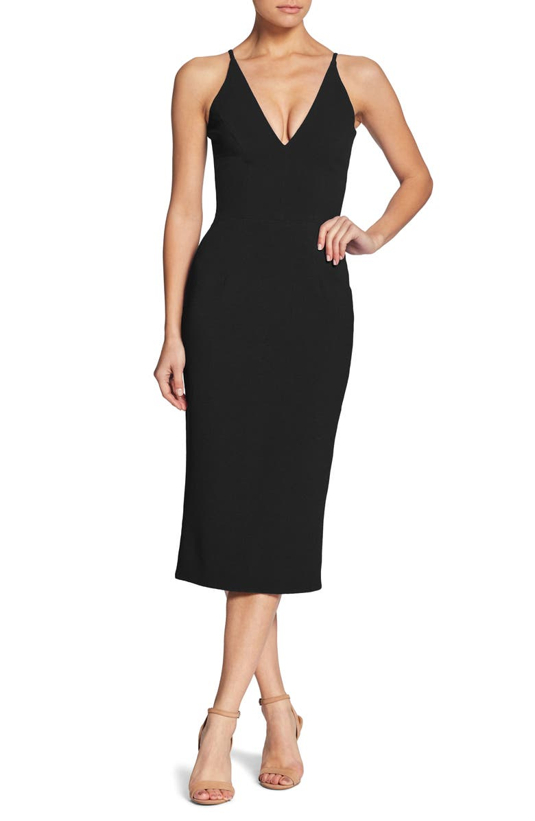 DRESS THE POPULATION Lyla Crepe Sheath Dress, Main, color, BLACK