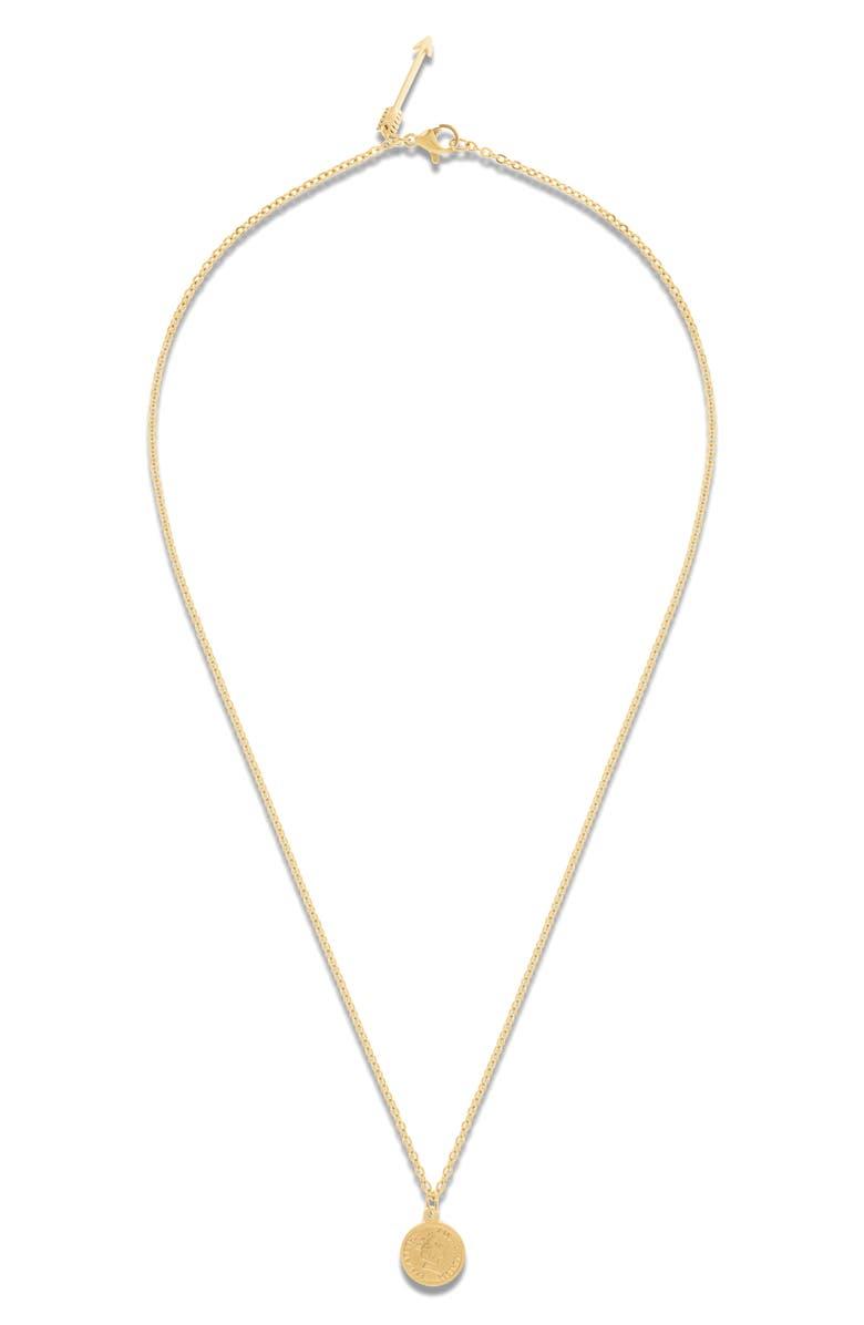 ELLIE VAIL Paige Mini Coin Pendant Necklace, Main, color, GOLD