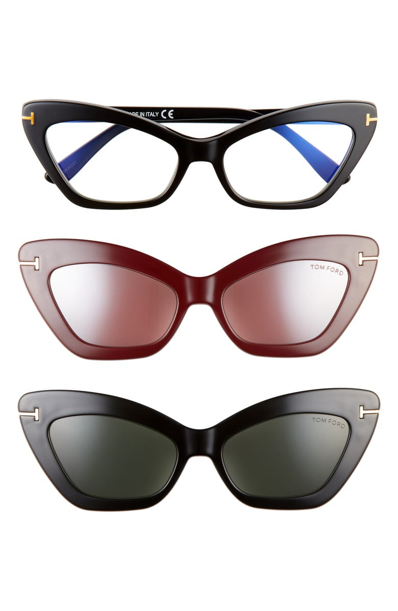 TOM FORD 55mm Blue Light Blocking Cat Eye Glasses & Interchangeable Sunglasses Clip Set, Main, color, SHINY BLACK/ CLEAR