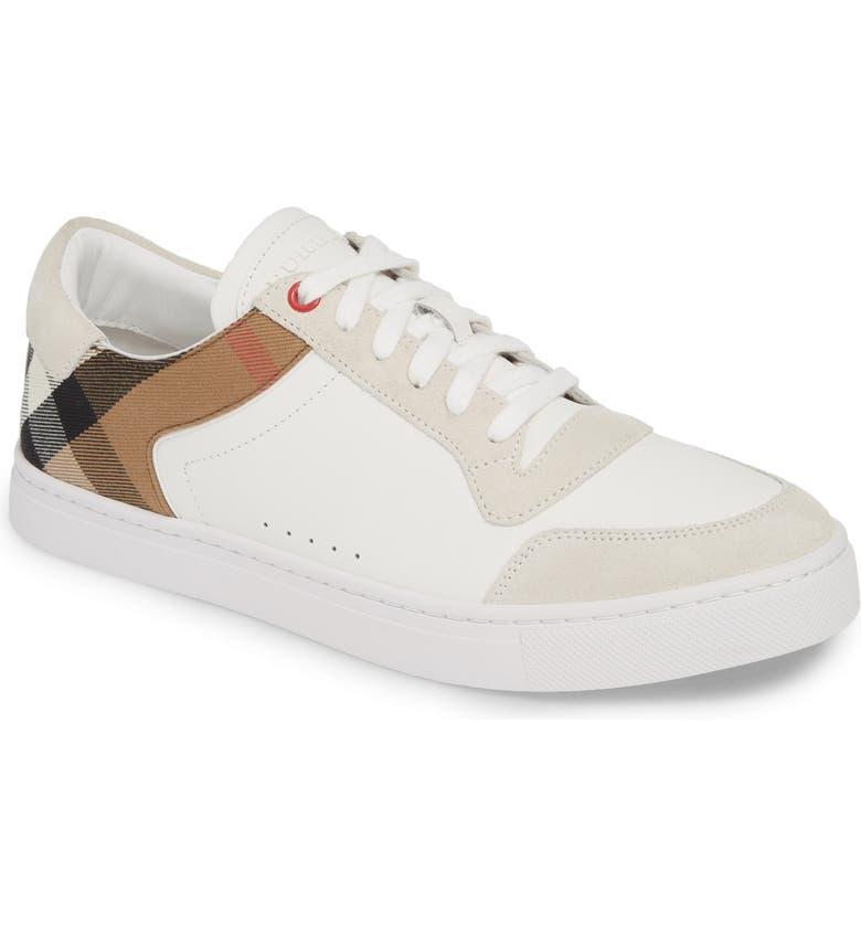 BURBERRY Reeth Low Top Sneaker, Main, color, OPTIC WHITE