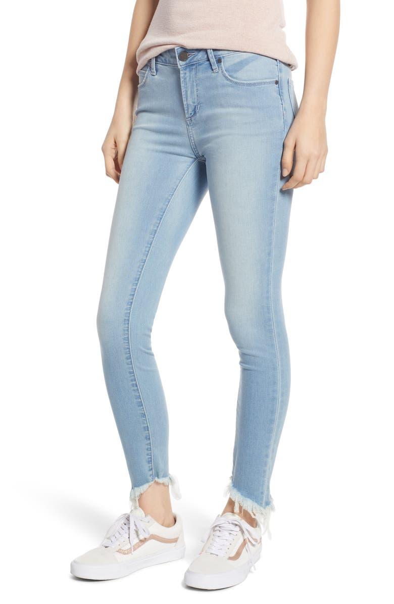 ARTICLES OF SOCIETY Suzie Fray Hem Skinny Jeans, Main, color, 400
