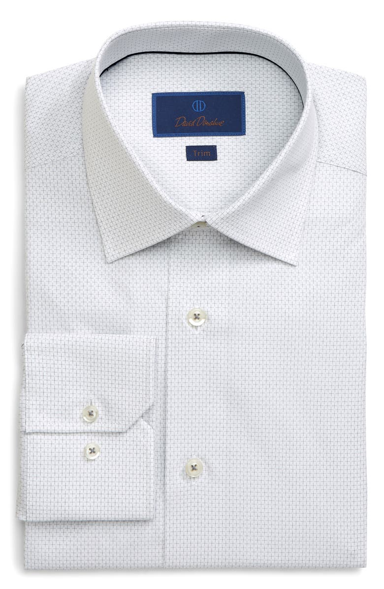 DAVID DONAHUE Trim Fit Check Dress Shirt, Main, color, WHITE/ GRAY